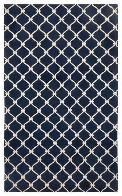Fence rug in Navy Ivory rugs
