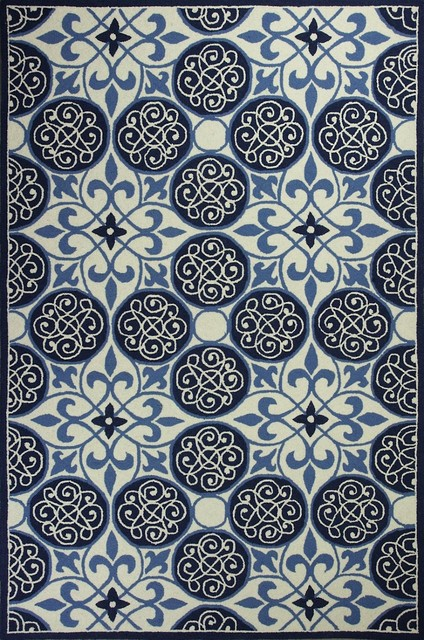 """Contemporary Colonial 8'x10'6"""" Rectangle Ivory-Blue Area Rug contemporary-rugs"""