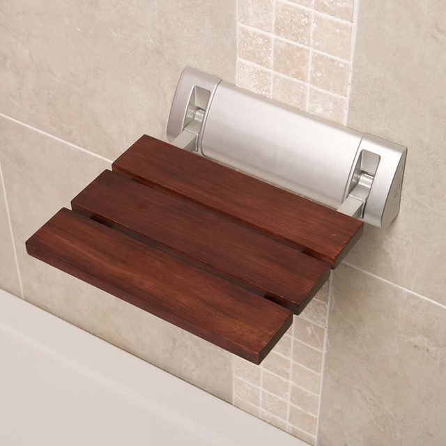 Sapele Luxury Folding Shower Bathroom Seat Modern Bathroom Accessory Contemporary Shower