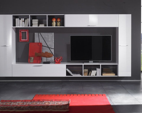Modern Wall Unit TV Media Entertainment Center Club Composition 9 - $2,634.00 - Modern Wall Unit Club Composition 9 by LC Mobili. Sample and beautiful unit made by Italian furniture manufacturer, wisely used space combines storage units, book shelves and TV unit at once. This Super B modular system contains a lot of different components to make your dream home a reality. All units are available in White High Gloss Lacquer finish except the Wall Mounted Desks (Comes in Gray only) and bookcases interior sides (Comes in Gray only). Please contact our office about details on customization of this wall unit.