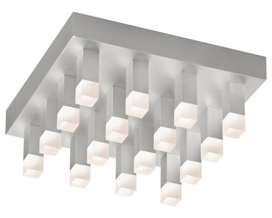 """Sonneman - Sonneman Connetix 12"""" Wide LED Ceiling Light - Bring modern lighting style home with the Connetix collection from Sonneman. This flushmount LED ceiling light fixture is eye-catching and contemporary with a rectangular canopy in a bright satin aluminum finish that features sixteen lighted rods extending downward. Bright CREE LEDs are housed within white etched acrylic at the ends of the rods and offer warm white lighting. Connetix collection ceiling light. Bright satin aluminum finish. White etched acrylic. Includes 16 CREE LED array (27 total watts). 3000K color temperature; CRI 80. Light output 2600 lumens. Dimmable. 12"""" wide. 4 1/2"""" high.  Connetix collection ceiling light.  Bright satin aluminum finish.  White etched acrylic.  Includes 16 CREE LED array (27 total watts).  Light output 2600 lumens.  Comparable to a 150 watt incandescent bulb.  3000K color temperature; CRI 80.  Dimmable.  12"""" wide.  4 1/2"""" high."""