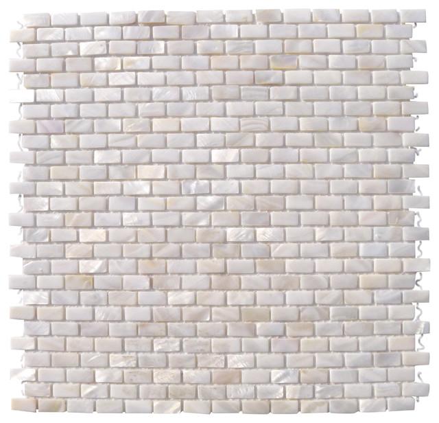 Mini Brick Oyster White Pearl Tile Mini Brick Pattern