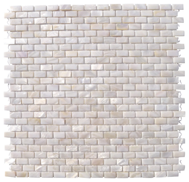 Mini Brick Oyster White Pearl Tile Mini Brick Pattern contemporary-tile
