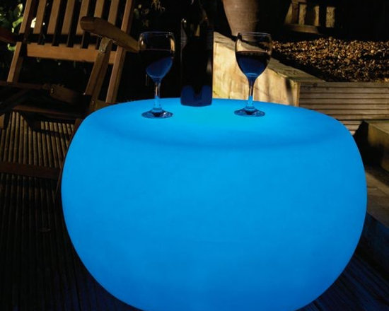 Illuminated Outdoor Table - Illuminated outdoor table displays seven colors and is rechargeable.