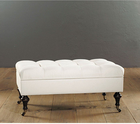 Castered Tufted Storage Ottoman traditional ottomans and cubes