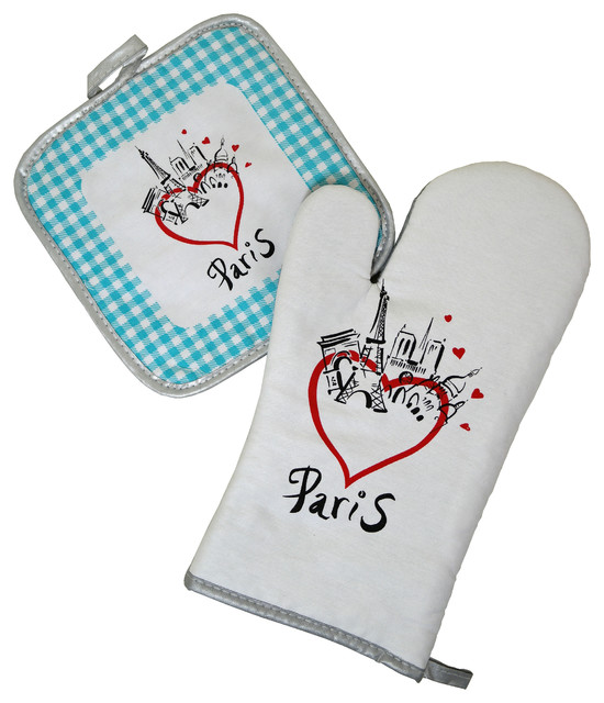 Paris Bistro Cotton Oven Mitt and Pot Holder Set - Blue traditional-oven-mitts-and-pot-holders