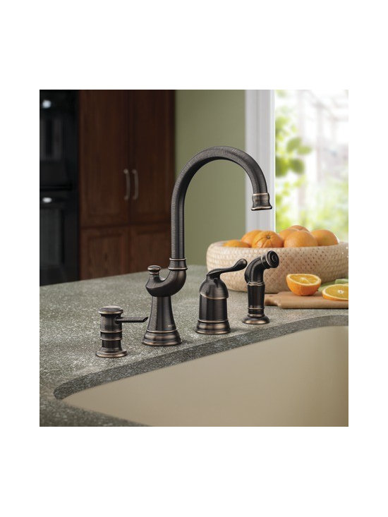 Moen Muirfield Mediterranean bronze one-handle high arc kitchen faucet - The classic look of the Muirfield™ collection will add a touch of traditional flare to your home.