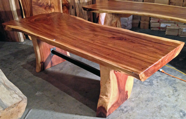 Natural Edge Timber Dining Table: Live / Natural Edge Monkeypod Wood Slab Dining Table