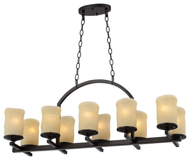 "Arts and Crafts - Mission Rustic Candle Dark Bronze 35"" Wide Island Chandel traditional-chandeliers"