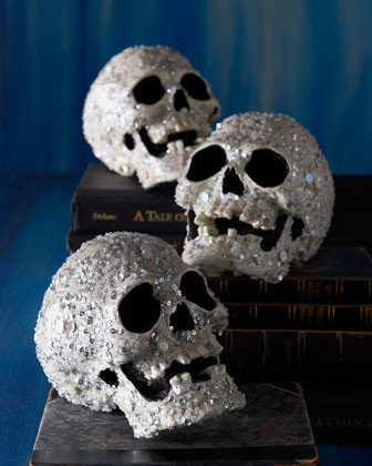 KATHERINES COLLECTION Encrusted Halloween Skull traditional holiday decorations