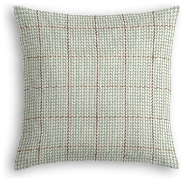 Decorative Pillows Small : Aqua Small Houndstooth Custom Throw Pillow - Traditional - Decorative Pillows - by Loom Decor