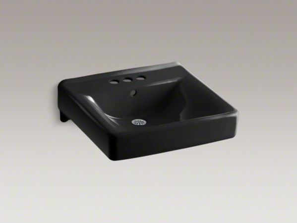 "KOHLER Soho(R) 20"" x 18"" wall-mount/concealed arm carrier arm bathroom sink with contemporary-bathroom-sinks"