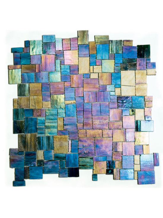 Emenne Melange Jolie Abalone - Stained glass iridescent mosaic mesh mounted