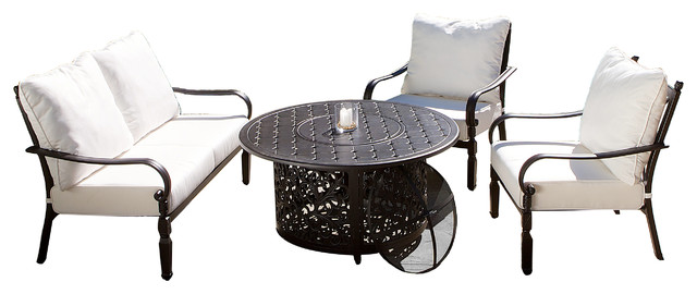 Ibiza 4-Piece Outdoor Fire Pit Chat Set tropical-patio-furniture-and-outdoor-furniture