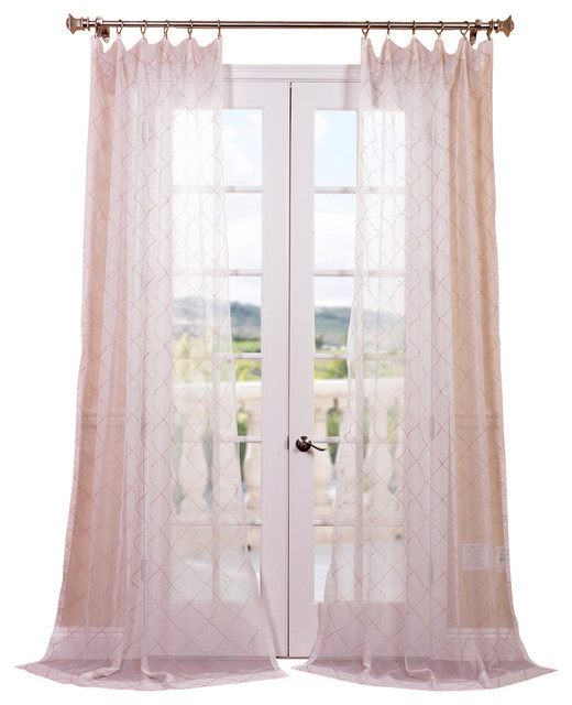 Vita Taupe Gold Embroidered Sheer Curtain Contemporary
