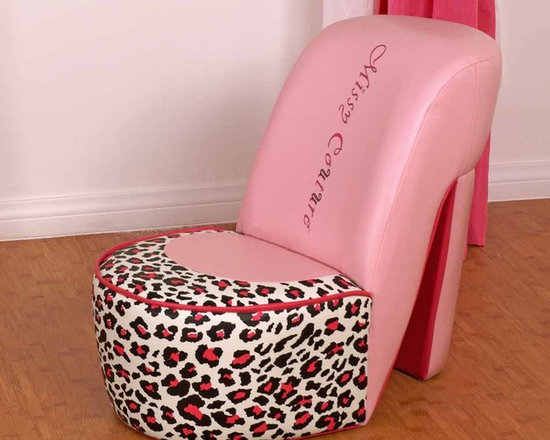 Kids Furniture - Inspired by a girl's favorite shoe—the high heel—the Missy Couture Shoe Chair is the essential chair for any little diva. Featuring a leopard print and pink faux-leather, this chair is every little girl's dream come true.