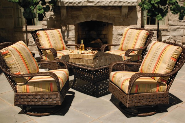 Lloyd Flanders Haven Swivels And Conversation Table Eclectic Patio Furniture And Outdoor