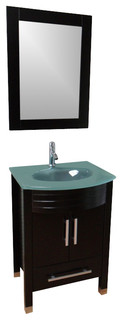 "24"" Modern Bathroom Vanity Frosted Glass Countertop - Contemporary - Bathroom Vanities And Sink ..."