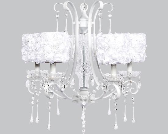 Belle & June - White Rose 5 Light White Colleen Chandelier - This strikingly elegant 5 light white Colleen chandelier features white rose garden drum shades and hanging crystals throughout. We can't think of anything more charming than hanging this in a little girl's bedroom or nursery.