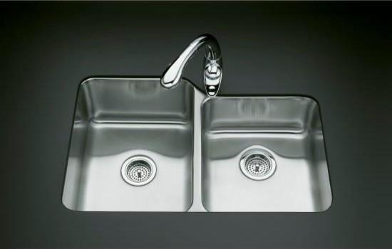 KOHLER K-3177-NA Undertone Large/Medium Undercounter Kitchen Sink contemporary-kitchen-sinks