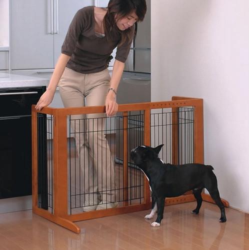 Tall Wooden Freestanding Pet Gate in Autumn Matte Finish modern-home-decor