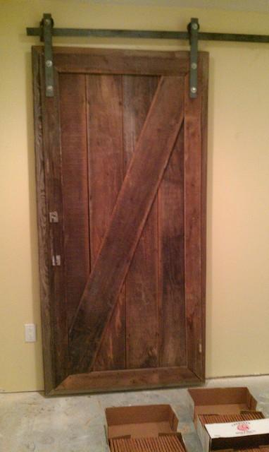 Barnwood sliding doors for basement project for Basement sliding doors