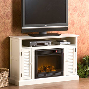 Savannah Electric Fireplace Media Cabinet in Antique White- 37-218