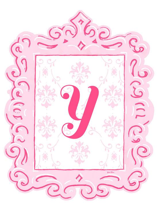 Sherri Blum Framed Pink Damask Monogram Wall Decals by Oopsy Daisy -