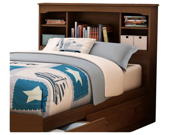 South Shore - South Shore Nathan Kids Twin Bookcase Headboard in Sumptuous Cherry Finish - South Shore - Headboards - 3356098 - Crafted from engineered wood products, the Nathan Bookcase Headboard features an elegant Sumptuous Cherry finish. This twin size headboard has sculpted lines and includes several practical storage spaces to keep your kid�s bedtime necessities within arm�s reach. Add traditional charm to your kid�s bedroom with the Nathan Bookcase Headboard.