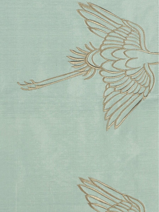 Blue Custom Made Embroidered Animal Dupioni Silk Curtains - Cranes are dancing beautifully in all kinds of postures among the ethereal and flowing clouds. Stunning and breath-taking.