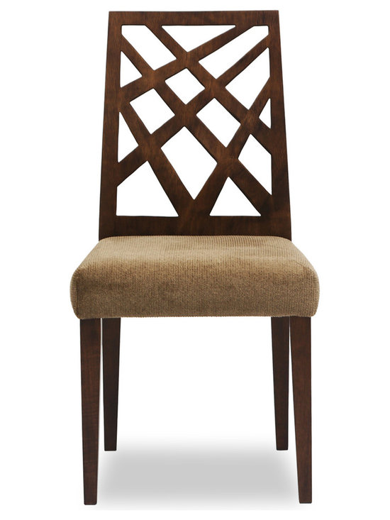 Bryght - Marla Umber Fabric Upholstered Cocoa Dining Chair - Take a seat on the Marla dining chair. Made of Eco-friendly Malaysian Oak in a warm cocoa stain, the Marla dining chair represents versatility with an avant-garde flair. Its modern asymmetrical patterned back and padded seating is sure to provide comfort with a touch of oomph!