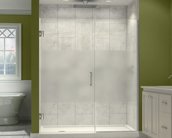 """Dreamline - Unidoor Plus 34 to 34-1/2""""W x 72""""H Hinged Shower Door, Half Frosted Glass Door - The Unidoor Plus Shower Door offers something for every space with models to fit a wide range of openings. A clean frameless glass design and minimal hardware create an open and airy appeal. The premium 3/8"""" thick tempered glass has a fingerprint-free frosted band which adds an element of design and privacy. This collection is extremely versatile with an incredible range of sizes to accommodate shower openings from 23"""" to 61"""" in width. Choose from the many options the Unidoor Plus Collection has to offer and give your shower a sophisticated touch for an exceptional quality."""