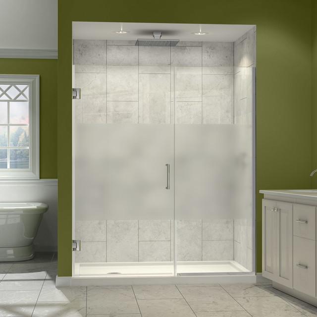 """Unidoor Plus 59 to 59-1/2""""W x 72""""H Hinged Shower Door, Half Frosted Glass Door modern-showerheads-and-body-sprays"""