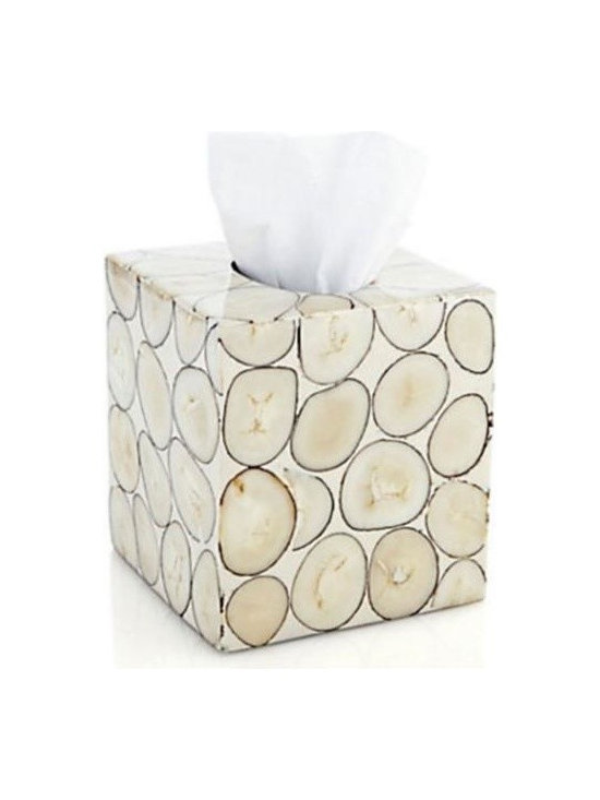 Tagua Seeds Veneer Tissue Box - Give your bathroom an organic-inspired aesthetic with this tagua seed tissue box. Tagua, a natural seed known as natural ivory because of its similarity to ivory, gives this piece its unique style. Pair with other Tagua Veneer bathroom accessories for a cohesive look.
