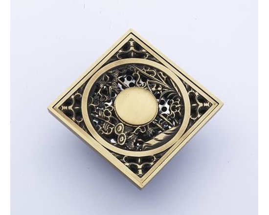 Antique Brass Art Carved Flower Bathroom Floor Drain DL-514 - Specification: