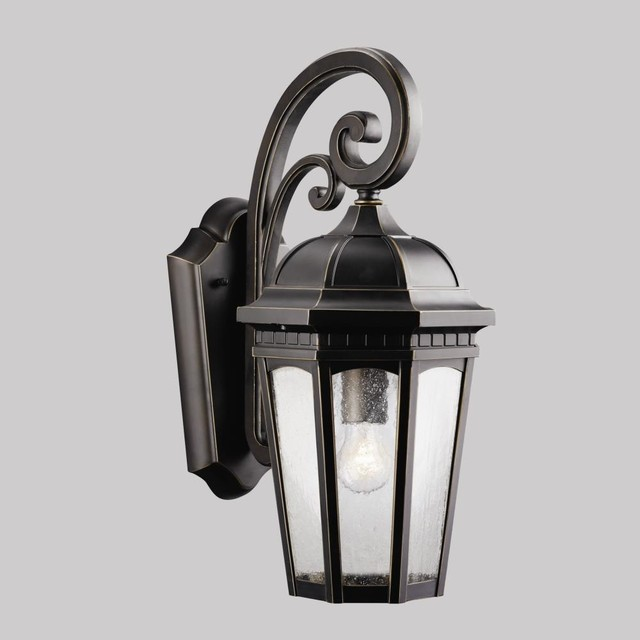 Exterior Wall Sconces Traditional : Kichler Lighting - 9033RZ - Courtyard - One Light Outdoor Wall Mount - Traditional - Outdoor ...
