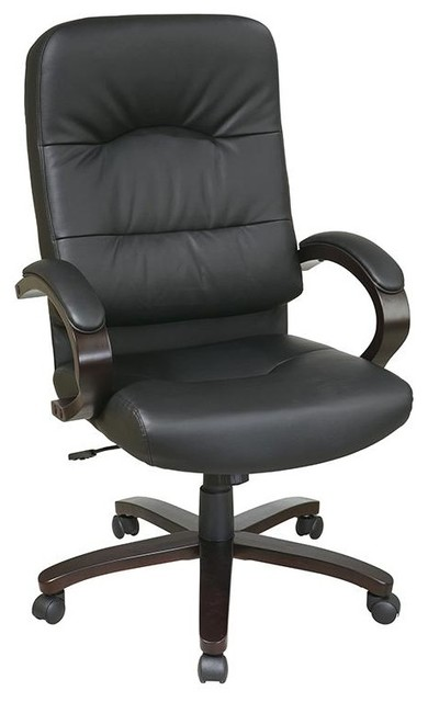 Eco Leather High Back Chair w Espresso Wood B contemporary-office-chairs