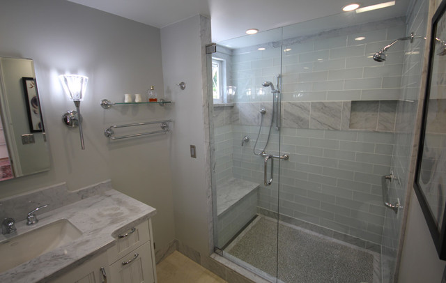 Glass and Carrara Marble shower with linear drain and recycle glass pebble floor contemporary