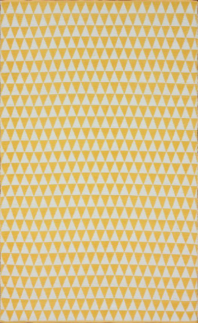 Contemporary Outdoor 8' x 10' Yellow Hand Tufted Area Rug Outdoor Prism Checks contemporary-rugs