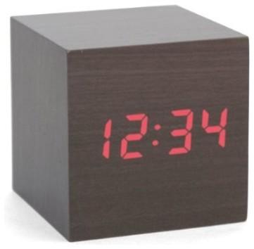 kikkerland clapon cube alarm clock dark wood modern