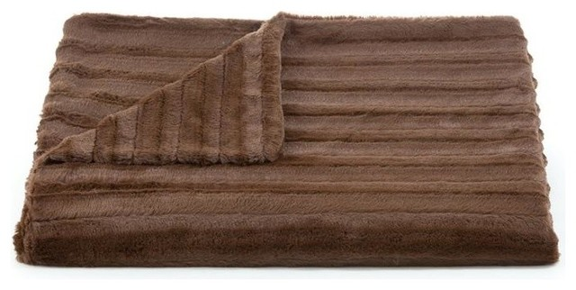 Lux Channel Stripe Chocolate Throw transitional-throws