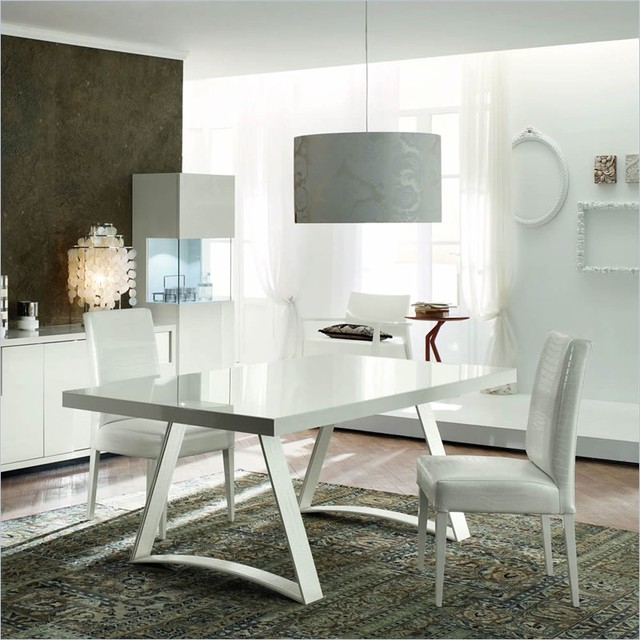 Rossetto Nightfly 3 Piece Rectangular Dining Table Set in White contemporary-dining-tables