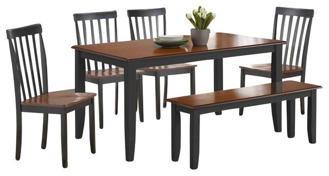 Boraam Bloomington 6 Piece Dining Set in Black/Cherry transitional-dining-sets