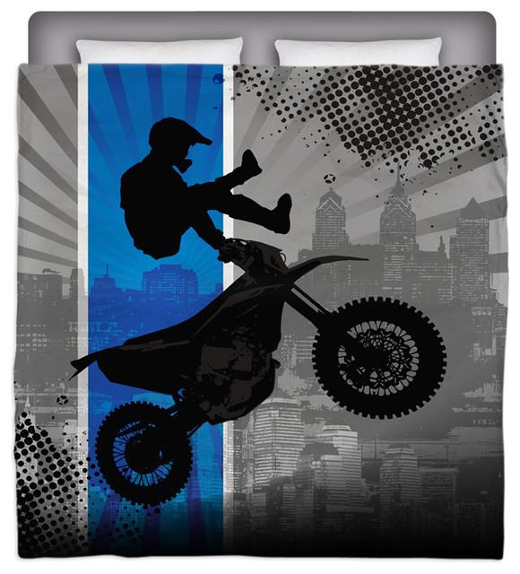Eco Friendly Made In USA Motocross Full/Queen Comforter modern-kids-bedding