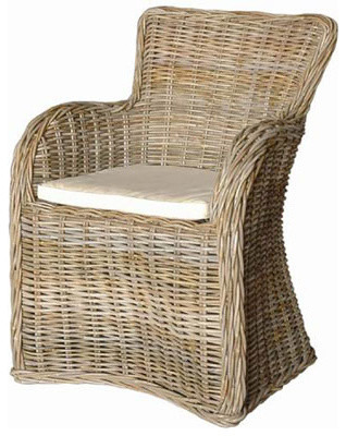 Newport Natural Gray Woven Kubu Chair (NEW) traditional-dining-chairs