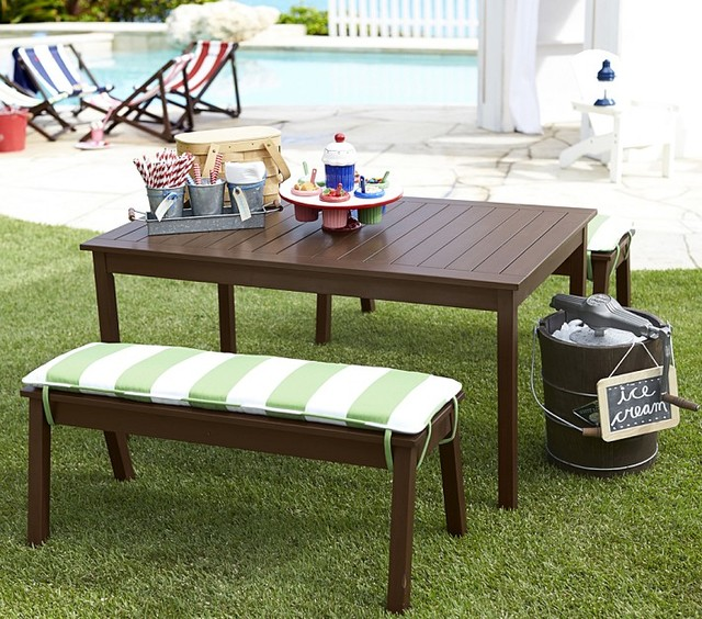 Chesapeake Table Bench Modern Patio Furniture And Outdoor Furniture By Pottery Barn Kids