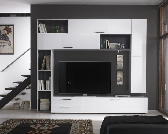 Modern Wall Unit TV Media Entertainment Center Club Composition 11 - $3,163.00 - Wall Unit Club Composition 11 by LC Mobili. The Club line offers a wide range of components that allows you to meet any requirement in the furnishing of your living room. All units are available in superior and modern White High Gloss Lacquer finish except the Wall Mounted Desks (Comes in Gray only) and bookcases interior (Comes in Gray only) to create a pleasant contrast. Please contact our office about details on customization of this wall unit.