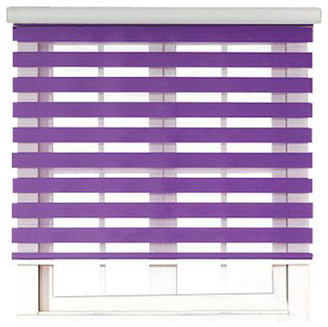 Purple Roller Shades : Roller zebra blind light filtering sheer shade purple
