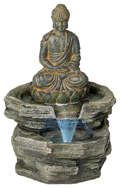Sitting Buddha Led Water Fountain Asian Outdoor