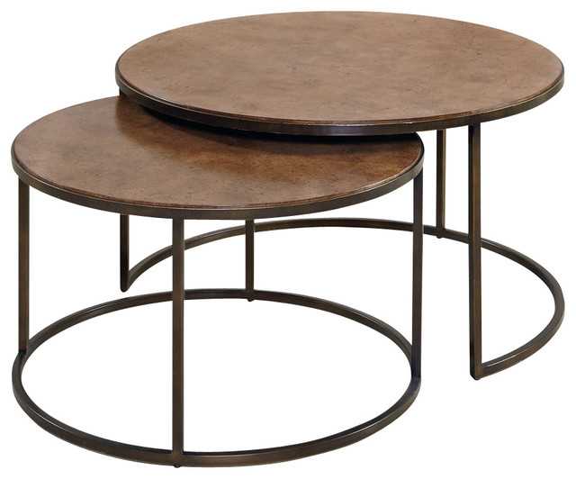 Round Cocktail Table Khaki Traditional Coffee Tables